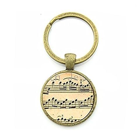 Vintage Charm Music Sheet Notes Key Chain Music Lovers Elegant Keychain (Elegant Music Rings)
