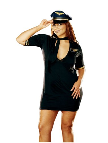 Mile High Plus Size Costumes (Dreamgirl Women's Plus-Size Mile High Captain Costume, 1X/2X,)