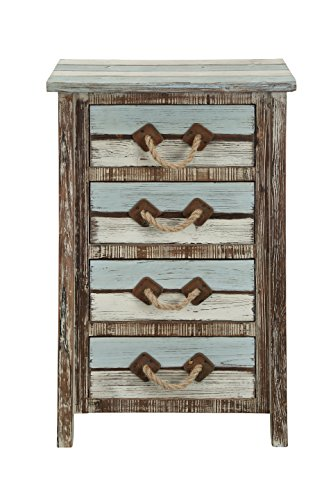- Treasure Trove Four Drawer Chest, Brown/Blue/Cream