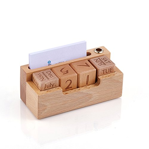 Artinova Wooden Calendar with a Business Card Holder Pen Holder Storage Box for The Desk ARTA-0025