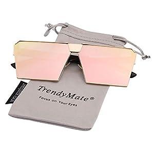 TrendyMate-Womens Men Reflective Color Mirror Lens Large Square Metal Rimmed Sunglasses Unisex (Gold Pink, 65)