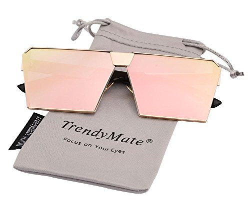TrendyMate-Womens Men Reflective Color Mirror Lens Large Square Metal Rimmed Sunglasses Unisex (Gold Pink, 65) (Square Sunglasses)
