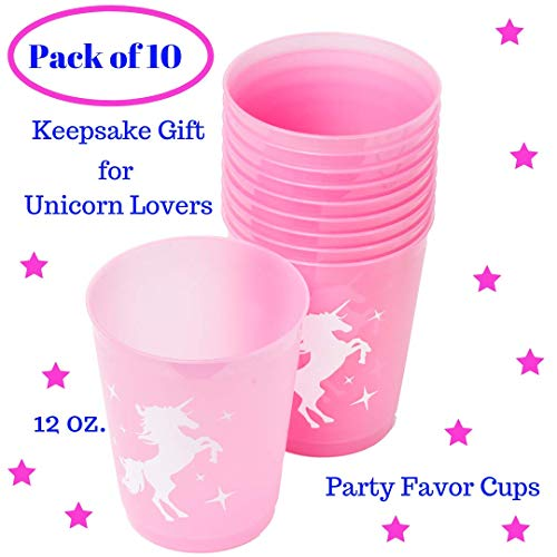 Unicorn Party Cups Keepsake Decorations- Unicorn Gifts for Girls - Unicorn Birthday Party Favor for Kids| Pink Plastic 12 Oz| Pack of 10| Unicorn Theme Party Supplies Set for Baby Shower