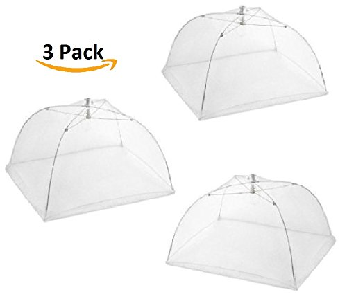 Cheap  Set of 3 Food Tents 17x17 Inches with 4 Tablecloth Clamps That..