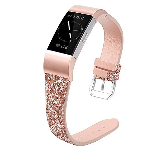 Aottom Compatible for Fitbit Charge 2 Band Women Leather Slim Bling Glitter Sequins Sport Wrist Band Metal Buckle Bracelet Wristband Replacement Band for Fitbit Charge 2 Fitness Tracker, Rose Gold