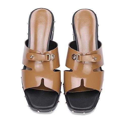 Para Hebilla Confort l0508 Moda Caminar Lngxe Mujeres Wsxy De Yellow Plataforma Chanclas Peep Sandalias Zapatos Zapatilla Superior Con Tacón Toe Mujer pYpq6wAFfU