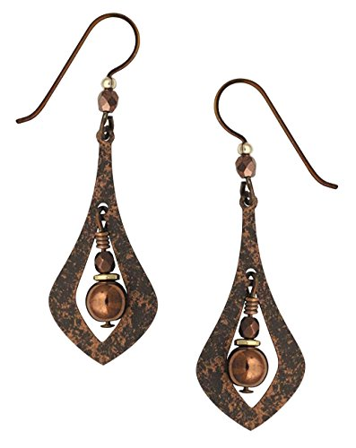 Adajio by Sienna Sky Handmade Brown Open Necktie Shaped Earrings with Beads - - Pear Men Shaped Face