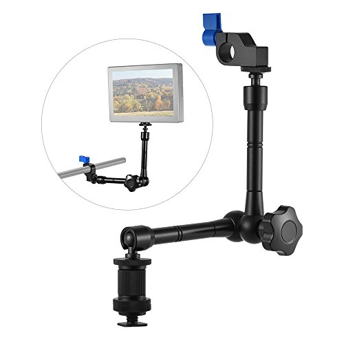Andoer Adjustable Articulating Friction Arm with 15mm Rod Clamp Mount for Field Monitor LED Light Flash Microphone Camera Cage Rig by Andoer