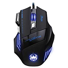 MAXIN ZELOTES Professional LED Optical 7200 DPI 7 Button USB Wired Gaming Mouse Mice for gamer Adjustable DPI Switch Function 7200DPI/3200DPI/2400 DPI /1600 DPI /1000 DPI For Pro Game Notebook PC Laptop Computer
