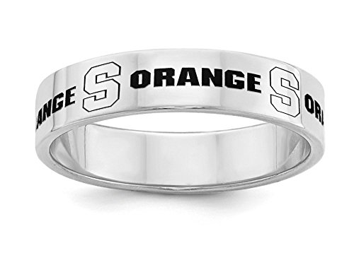 Syracuse Orange Sterling Silver Ring | 5mm Wide Band | Officially Licensed | Available in Sizes 5 Through 12 by College Jewelry
