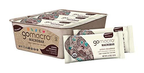 GoMacro MacroBar Organic Vegan Protein Bars, Dark Chocolate + Almonds, 2.3 Ounce Bars (Pack of 12) (Best Organic Dark Chocolate Bars)