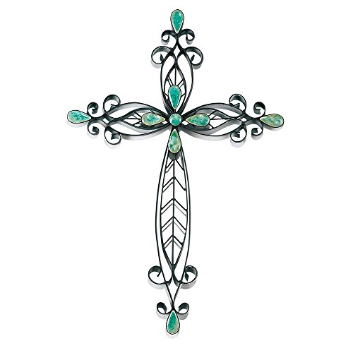Cross Turquoise Wall (Filigree Black Turquoise Stones 20 Inch Metal Decorative Hanging Wall Cross)