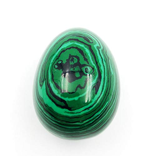 favoramulet Polished Stone Crystal Easter Day Egg for Healing Display Figurine Sphere Sculpture Decoration, Green Malachite ()