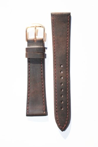 12mm Brown Flat Leather Watchband with Gold-Plated Buckle and Leather Lining