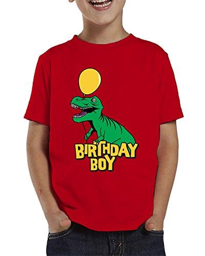 SpiritForged Apparel Birthday Boy Dinosaur with Balloons Toddler T-Shirt, Red 4T