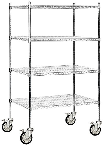 (Salsbury Industries Mobile Wire Shelving Unit, 36-Inch Wide by 69-Inch High by 24-Inch Deep, Chrome)