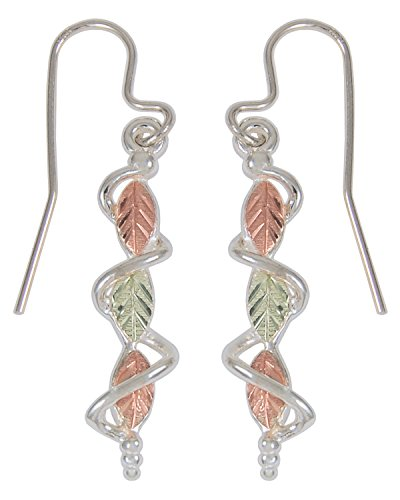 Sterling Silver Leaf Dangle Earrings, 12k Green and Rose Gold Black Hills Gold Motif by The Men's Jewelry Store (for HER)