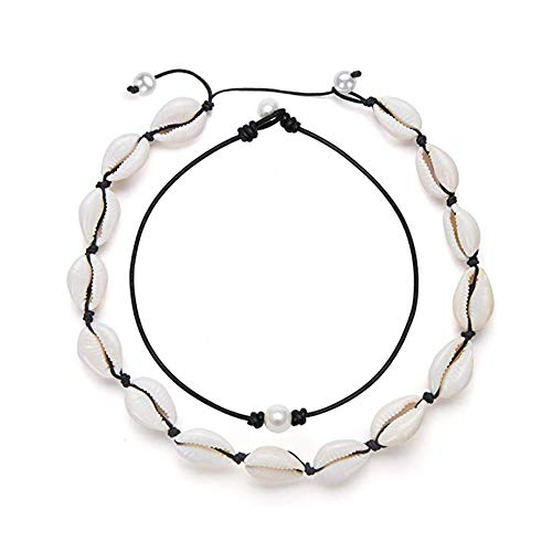 BRIGHT MOON Shell Choker Necklace Pearl Choker Necklace Adjustable Statement Puka Chip Necklace Star Pendant Long Necklace(Black Set)