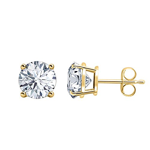 (RUDRAFASHION Fancy Party Wear (4MM) Round Cut Diamond Solitaire Stud Earrings 14K Yellow Gold Over .925 Sterling Silver For Women's &)