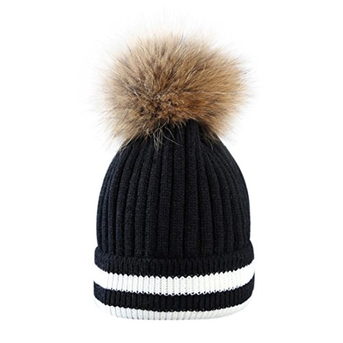 Costume Captain China (Sopety Fashion Outdoor Winter Hat Hair Ball Stripe Knitted Hat Women Hat Beanies Cap)