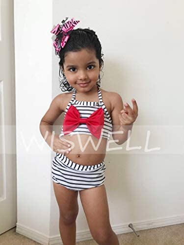 WISWELL Baby Girl Striped Swimsuit Bikini Infant Girl Halter 2-Piece Bathing Suit with Bowknot Outfits