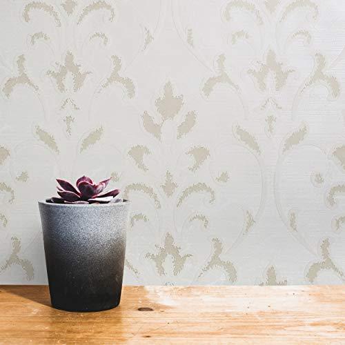 76 sq.ft rolls Italian Portofino wallcoverings modern embossed flocked wall coverings Vinyl Wallpaper white ivory metallic beige flocking vintage style Victorian damask flock textured velvet velour 3D