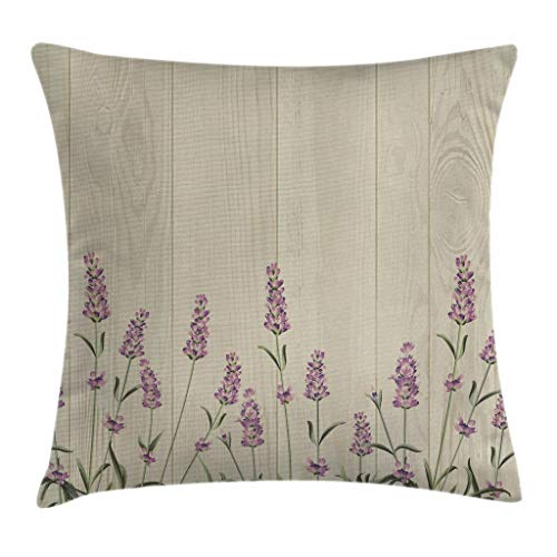 Ambesonne Lavender Throw Pillow Cushion Cover, Aromatic Herbs on Wooden Planks Springtime Nature Botany Illustration, Decorative Square Accent Pillow Case, 18 X 18 Inches, Lilac Pale Sage Green