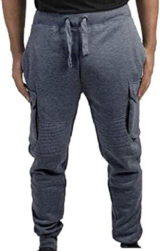 Romancly メンズミッドライズカーゴパンツストラップ付きポケット純カラースポーツパンツ