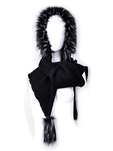 Futrzane Women Hooded Scarf Hat Knitted Wool Faux Fox Fur Long Warm (Black - Black with White Jenot)