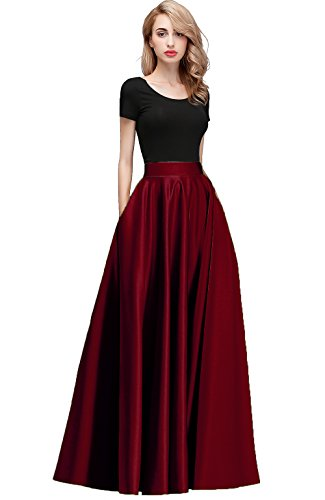 (Honey Qiao Women's Satin Long Floor Length High Waist Fomal Prom Party Skirts with Pockets,Back Zipper Closure Burgundy)