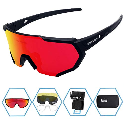 GIEADUN Sports Sunglasses Polarized UV400 Protection Cycling Glasses with 3 Interchangeable Lenses for Cycling, Baseball,Fishing, Ski Running,Golf (Black-1) (Best Cheap Cycling Glasses)