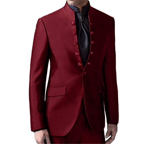 Setwell Latest Coat Pants Mandarin Collar Men Suits Formal Custom Tuxedo 2 Piece Burgundy