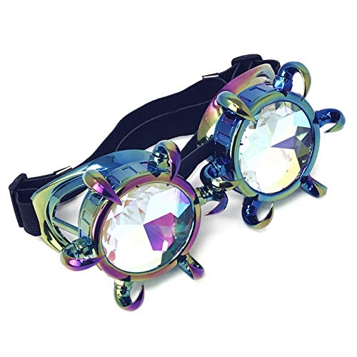 3D Rainbow Prism Kaleidoscope Rave Glasses, Diffraction Steampunk Goggles, Claw-Rainbow