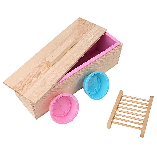 TTLIFE Upgrade reinforced Rectangular Soap Silicone Mold with Wood Box and Wood Lid with 2 pressing holes, 2-piece round silicone mold and a Wood soap holder for free (Pink) ()