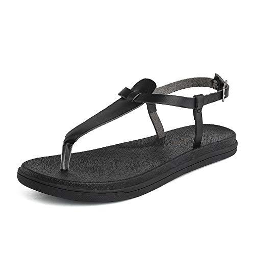 DREAM PAIRS Women's T Strap Thong Sandal Size 8 M US Black Dumbo-Thong