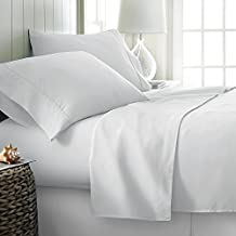 "Jose Farmer Bedding Exalted Quality 1500 Thread Count 100% Egyptian Cotton Ultra Bland 4 Piece Bed Sheet Set Fitt Up To 15"" Deep Pocket 1500TC (California-king,White,Solid)"