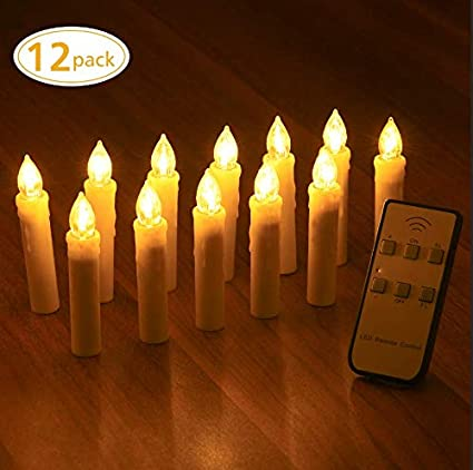 Yantop Taper Candle Lights 12 Pcs Battery Operated Christmas Candles Flameless Flickering Electric Led Candle Lights Set With Removable Clips