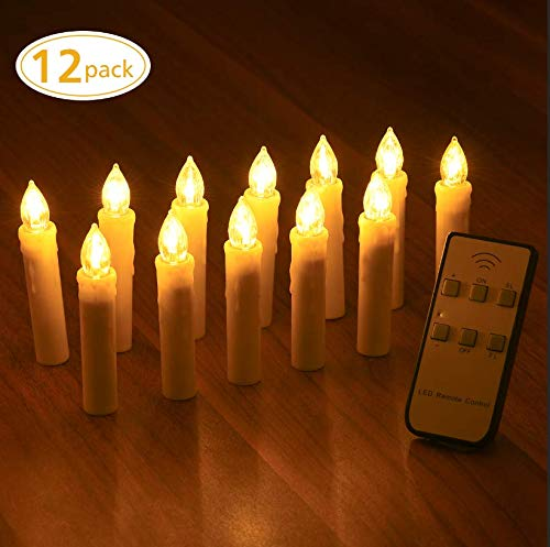 (Yantop Taper Candle Lights, 12 PCS Battery Operated Christmas Candles, Flameless Flickering Electric Led Candle Lights Set with Removable Clips & Remote for Party, Wedding, Christmas Decorations)