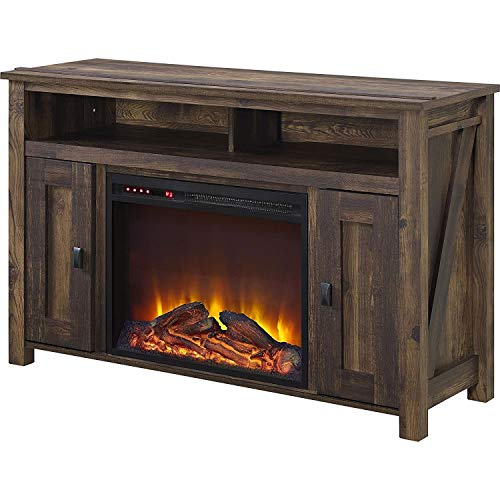 Cheap 50-inch TV Stand in Medium Brown Wood with 1 500 Watt Electric Fireplace Black Friday & Cyber Monday 2019
