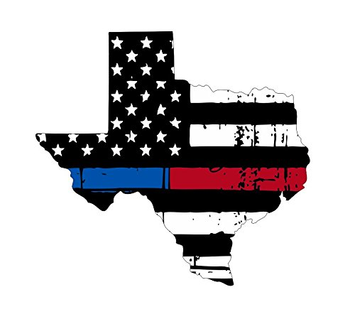 Texas tattered thin blue-red line flag honoring our men & women of law enforcement and Fire Fighters USA america car symbol sticker decal die cut vinyl window - Made and ()