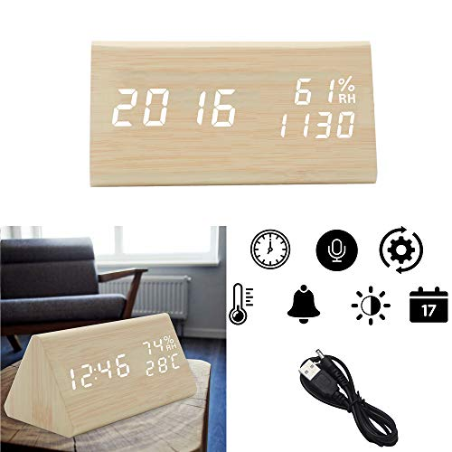 OFLILAK Faux Wooden Alarm Clock, Digital Alarm Clock with 3 Levels Adjustable Brightness and Sound Control, Display Time Temperature Humidity for Bedroom Office (Bamboo)