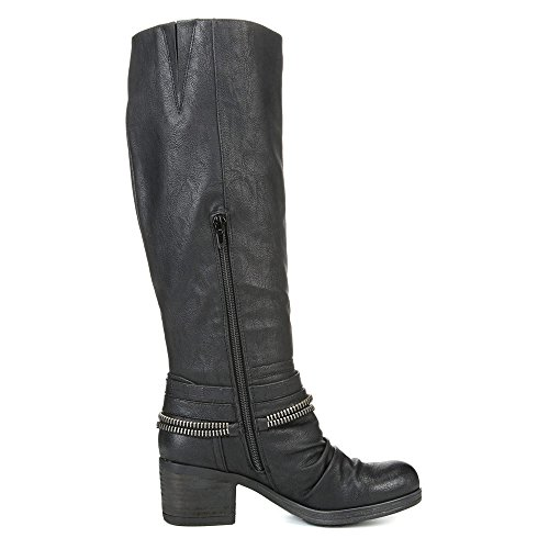 Boot Santana Carlos Riding Black Synthetic Leather by Carlos Candace Women's qYwa6A