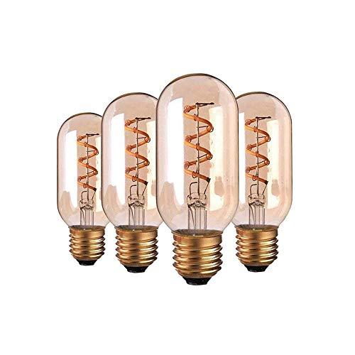 Century 3 Light Pendant - Century Light - Flexible Filament LED Bulb 3W- T14 Carbon Filament Style Bulb w/Gold Tint - 25 Watt Equivalent - Spiral Loop - Ultra Warm White 2200K - Dimmable (4Pack)