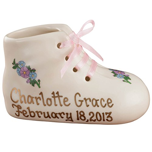 """Porcelain Personalized Baby Bootie Heirloom – Pink Girl - Customize Ceramic Baby Shoe Keepsake with Baby Name and Birth Date – Birth, Baptism or Christening Gift - 4"""" Long by 2"""" Wide - Baby Shoe Keepsake"""