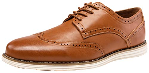 VOSTEY Men's Dress Shoes Wingtip Brogue Oxford Classic Business Shoes (8,Yellow Brown)