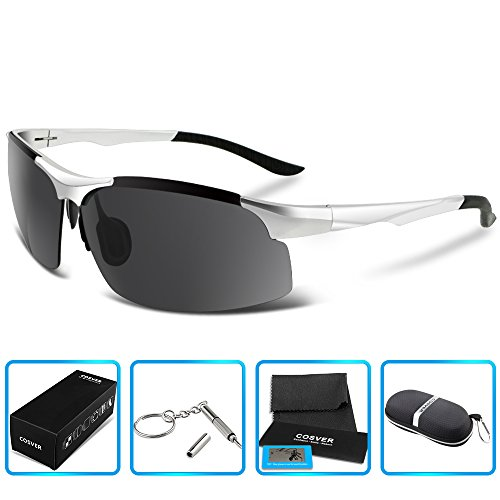 COSVER 8003 Men's Sports Style Polarized Sunglasses for Driving Fishing Golf Glasses (Silver, - Fake Readers