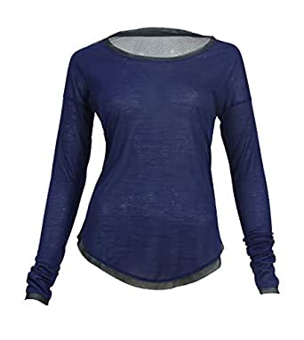 Burn Activewear Navy Round Neck T-Shirt For Women