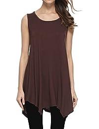 Womens Plus Size Loose-Fit Sleeveless T-Shirt Tank Tunic Top