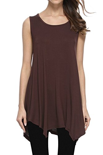 JollieLovin Womens Plus Size Loose-fit Sleeveless T-Shirt Tank Tunic Top (Coffee, L)