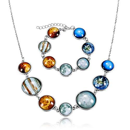 MOWOM 2PCS Multicolor Alloy Necklace Bracelet Gemstone Solar System The Seven Planets Adjustable Set ()